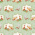 Woodland Fairy Tale - Mint Green Sweet Animals Fox Deer Rabbit Owl - Half Drop Repeat by Audrey Jeanne Roberts