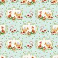 Woodland Fairy Tale - Sweet Animals Fox Deer Rabbit Owl - Half Drop Repeat by Audrey Jeanne Roberts
