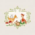 Woodland Fairytale - Grey Animals Deer Owl Fox Bunny N Mushrooms by Audrey Jeanne Roberts
