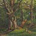 Woodland Scene With Rabbits by Hubert von