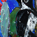 Woodpecker With Prickly Pear Cactus  by Maggie Turner