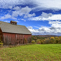 Woodstock Vermont Old Red Barn In Autunm by Edward Fielding