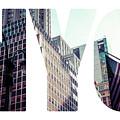 Word Nyc Manhattan Skyline At Sunset, New York City  by Mariusz Prusaczyk
