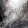 Worker In Steam Collage by Dave Beckerman