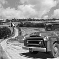 Down On The Farm- International Harvester In Black And White by Gill Billington