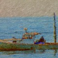 Working Hard Lobster Boat Smugglers Cove Boothbay Harbor Maine by Viktor Arsenov