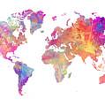 World Map Art by Justyna JBJart