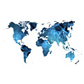 World Map Blue by Susan Link