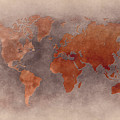 World Map Brown by Justyna JBJart