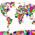 World Map Circles by Michael Tompsett