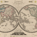 World Map Divided Into Two Hemispheres by Art Makes Happy