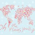 World Map Geometric Pink Mint  by Hieu Tran