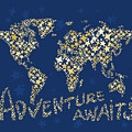 World Map Gold Yellow Star Navy Blue by Hieu Tran