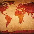 World Map Grunge Style by Johan Swanepoel