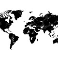 World Map In Black And White by Tori Rodriguez