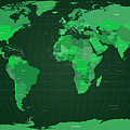 World Map In Green by Michael Tompsett