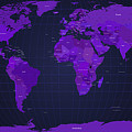 World Map In Purple by Michael Tompsett