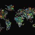 World Map Mandala Feathers 2 by Bekim Art