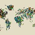 World Map Mandala Feathers 3 by Bekim Art