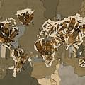 World Map Mandala Feathers 4 by Bekim Art