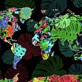 World Map Monstera Leaves  8 by Bekim Art