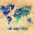 World Map Oceans And Continents Art by Justyna JBJart