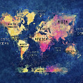World Map Oceans And Continents by Justyna JBJart