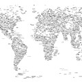 World Map Of Cities Typography Map by Michael Tompsett