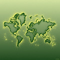 World Map Opala Square In Green And Yellow by Eleven Corners