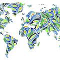 World Map Organic Green And Blue by Irina Sztukowski