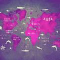 World Map Pink by Justyna JBJart