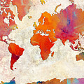 World Map - Rainbow Passion - Abstract - Digital Painting 2 by Andee Design