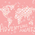 World Map White Flowers Pink by Hieu Tran