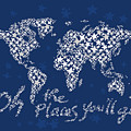 World Map White Star Navy Blue by Hieu Tran