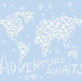World Map White Star Pastel Blue by Hieu Tran