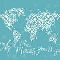 World Map White Star Turquoise by Hieu Tran