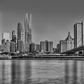 World Trade Center And The Brooklyn Bridge Bw by Susan Candelario