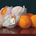 Wrapped Oranges On A Tabletop by William Joseph McCloskey