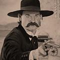 Wyatt Earp - Kurt Russell B And W by Belinda Nagy