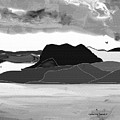 Wyoming Landscape 3 - B-w by Lenore Senior
