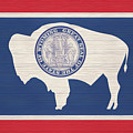 Wyoming Rustic Flag On Wood by Dan Sproul