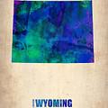 Wyoming Watercolor Map by Naxart Studio