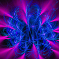 Yarn In Space - Fractal Art Blue And Pink by Matthias Hauser