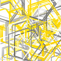 Yellow And Gray Geometric Shapes Art by Lourry Legarde