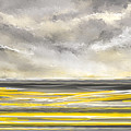 Yellow And Gray Seascape Art by Lourry Legarde