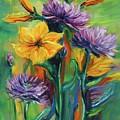 Yellow And Purple Flowers by Jennifer Christenson