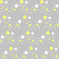 Yellow And White Stars On Grey Gray  by Laura DeCamp