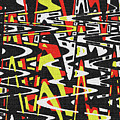 Yellow Black Red White Drawing Abstract by Tom Janca