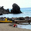 Yellow Boat On The Beach by Ian  MacDonald