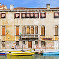 Yellow Boat - Venice Italy by Mike Valdez
